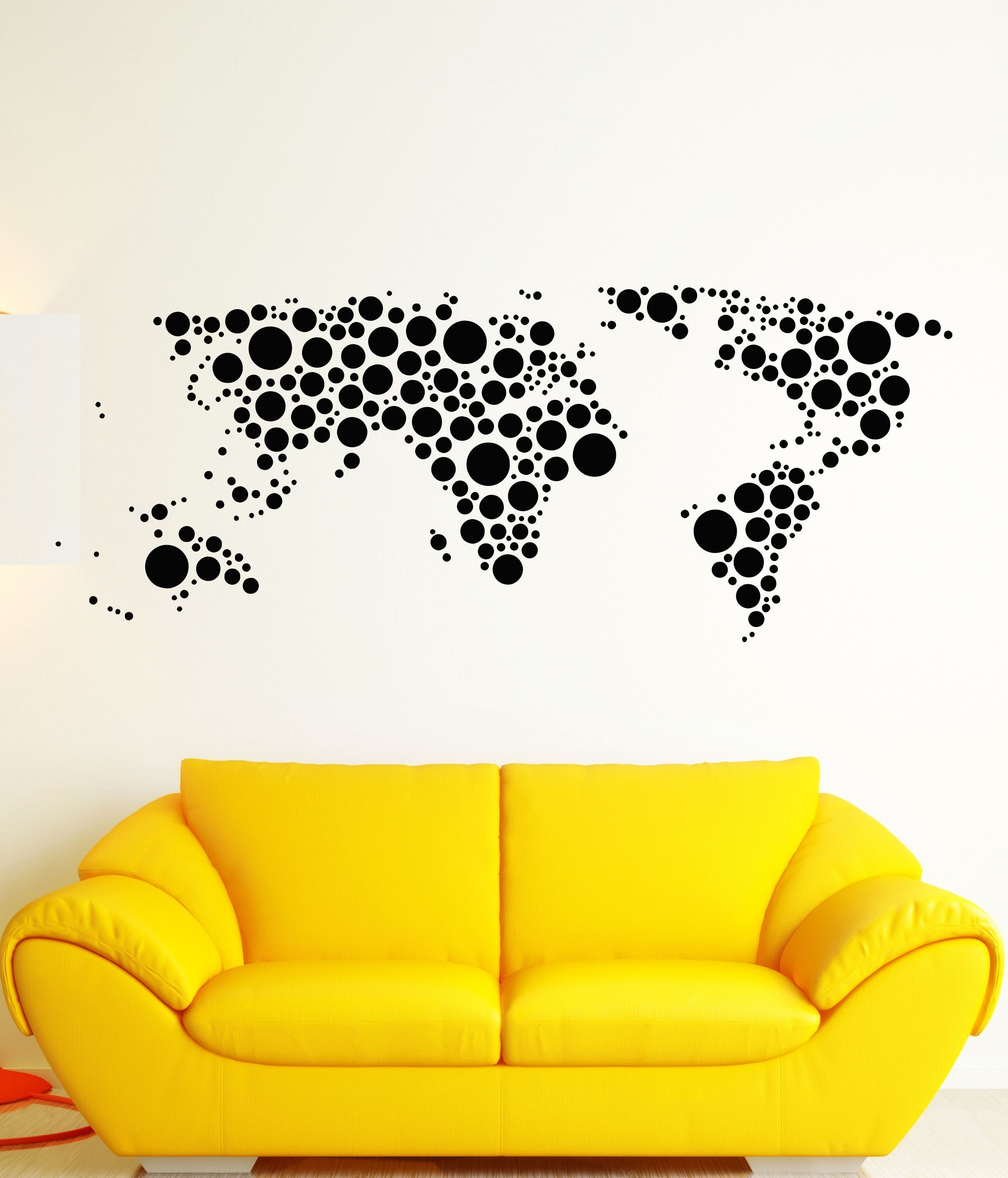 Favorite Vinyl Wall Decal Earth World Map Funny Art Decor Bubble Circles Throughout Vinyl Wall Art World Map (View 5 of 15)
