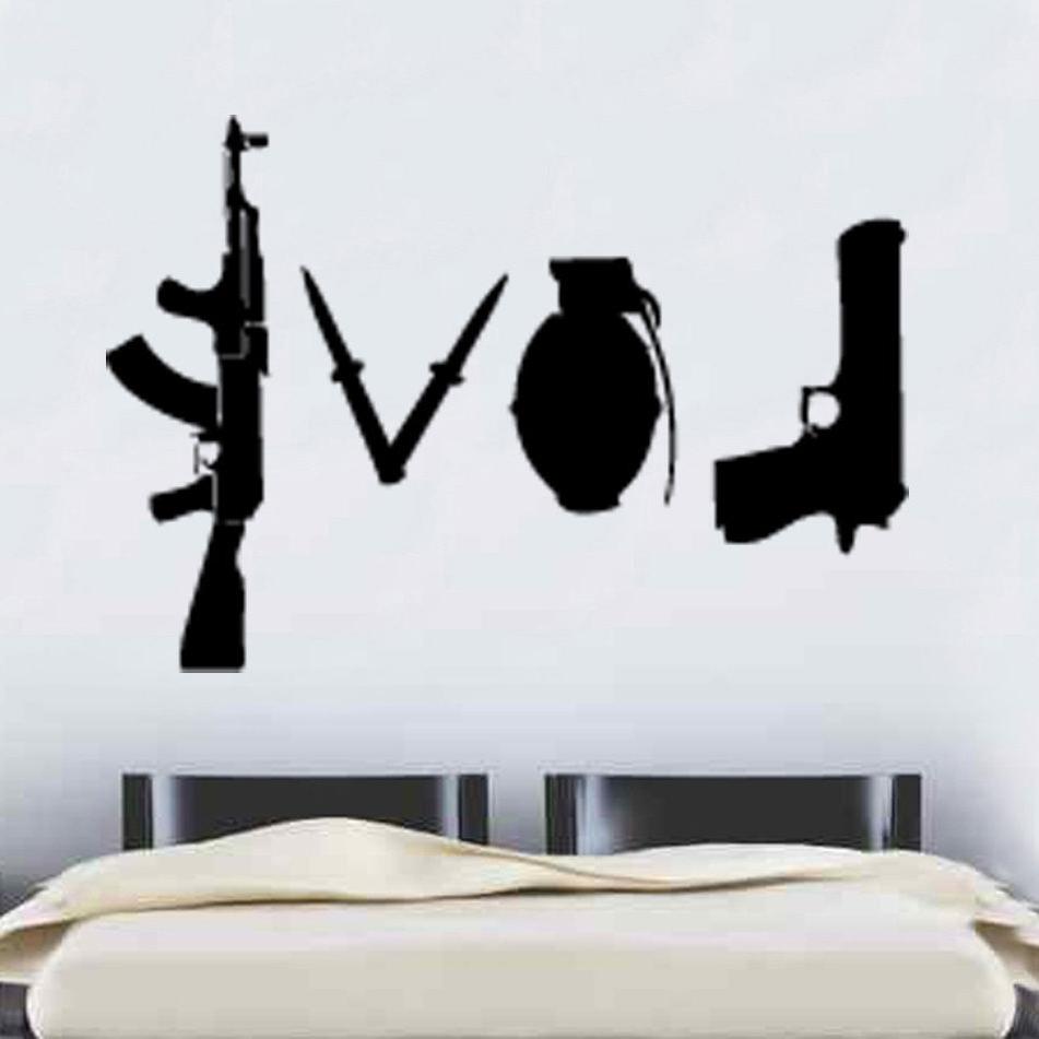 Favorite W227 Banksy Love Weapons Wall Sticker Art Graffitti Street Vinyl Intended For Wall Sticker Art (View 2 of 15)