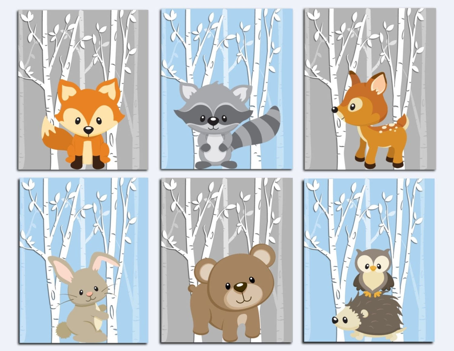 Favorite Woodland Nursery Wall Art For Woodland Nursery Wall Art, Forest Animals Wall Art, Kids Wall Art (View 4 of 15)