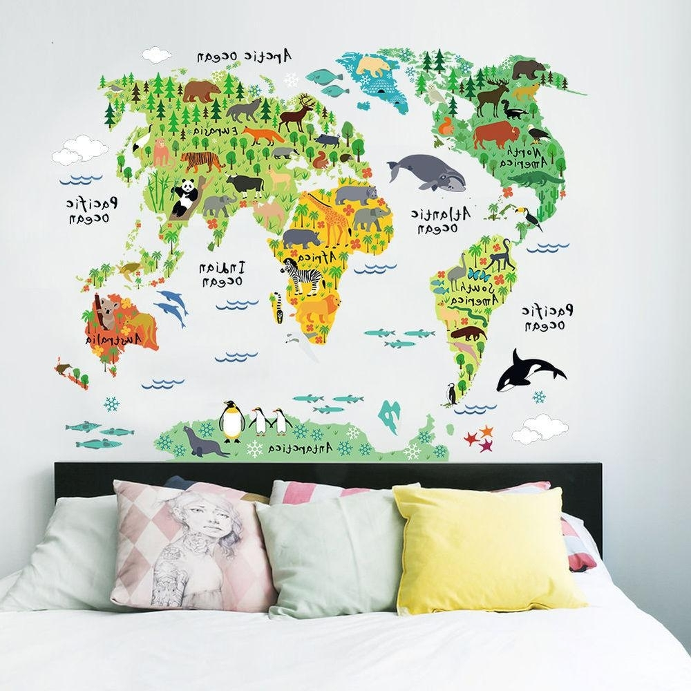 Favorite World Map Wall Art For Kids Intended For Colorful World Map Wall Sticker Decal Vinyl Art Kids Room Office (View 3 of 15)