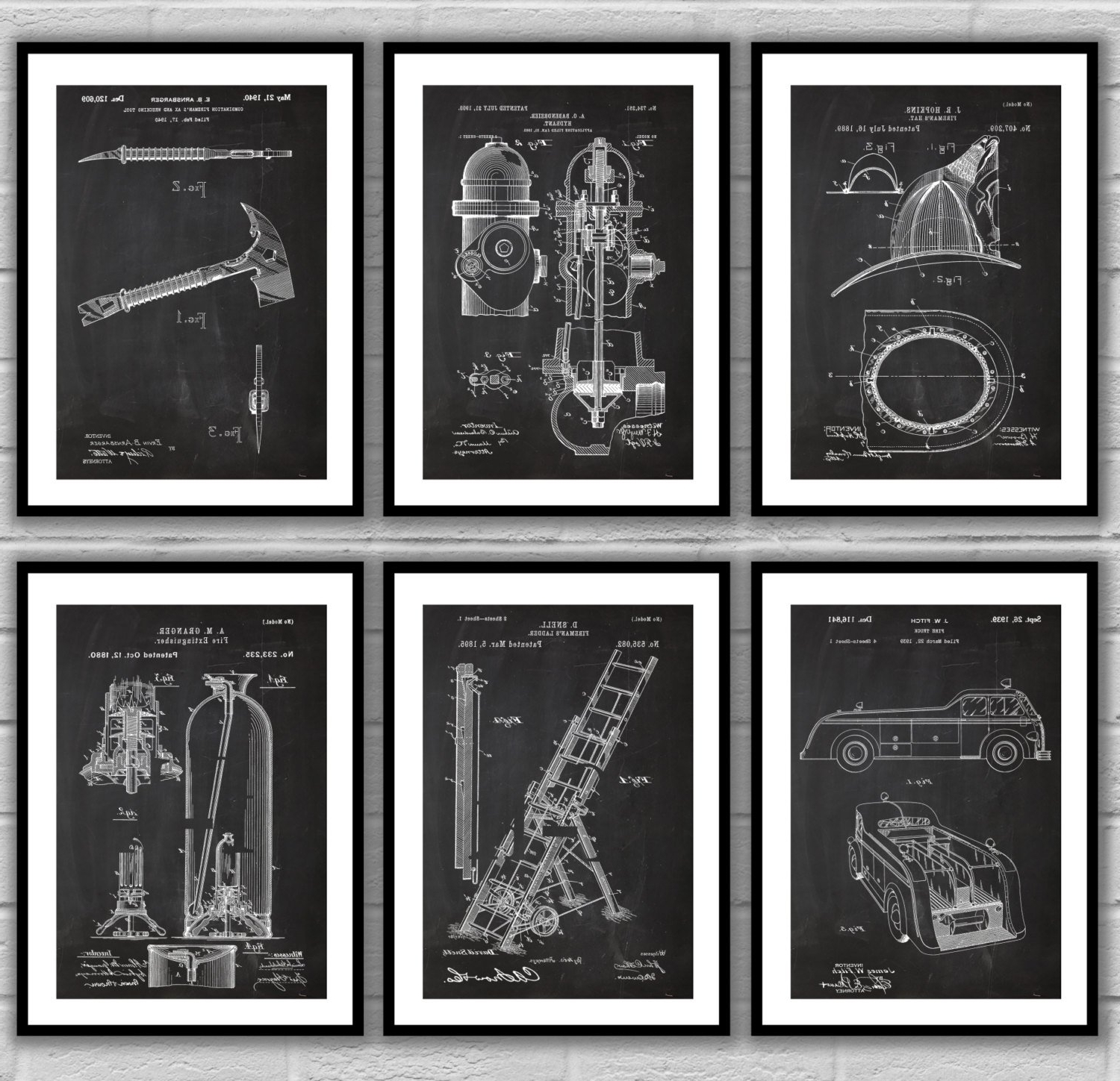 Fire Man Patent Posters, Firefighter Patent, Fire Truck Wall Art With Regard To Best And Newest Firefighter Wall Art (View 4 of 15)