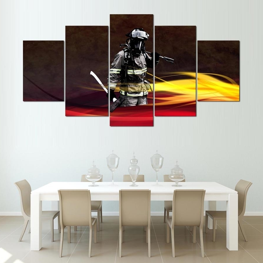 Firefighter Wall Art Inside Newest Canvas Painting Home Decorative Modular Hd Print 5 Panel Firefighter (View 10 of 15)