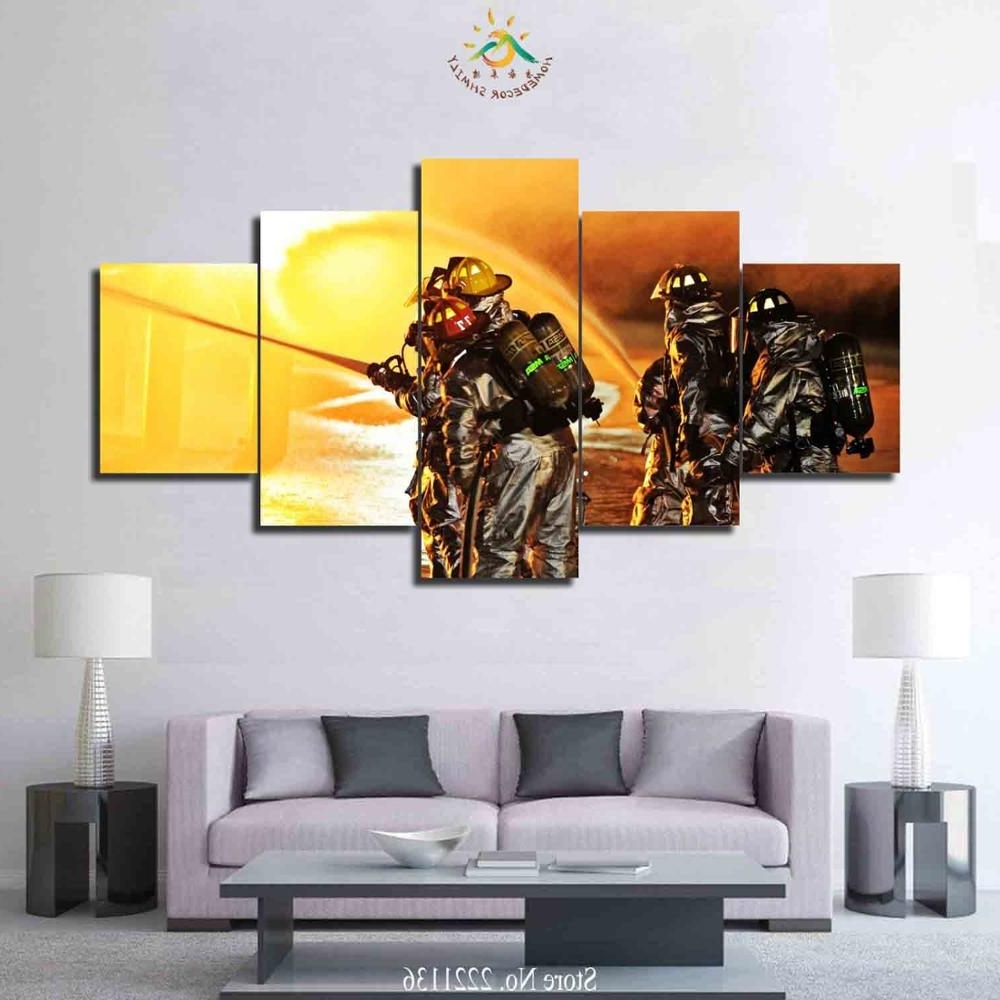 Firefighter Wall Art Intended For Best And Newest 3 4 5 Pieces Firefighter Art Set Poster Home Goods Wall Art Canvas (View 3 of 15)