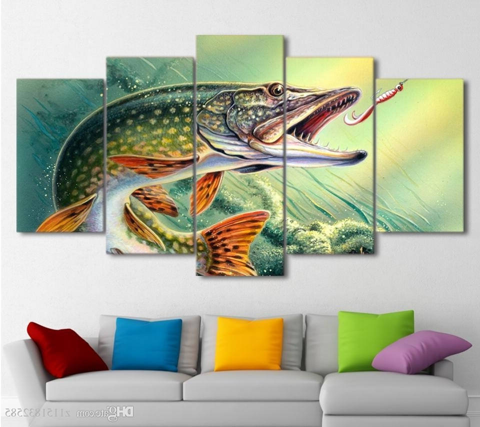 Fish Painting Wall Art regarding 2017 2018 Canvas Art Fishing Hooked Pike Fish Canvas Painting Wall