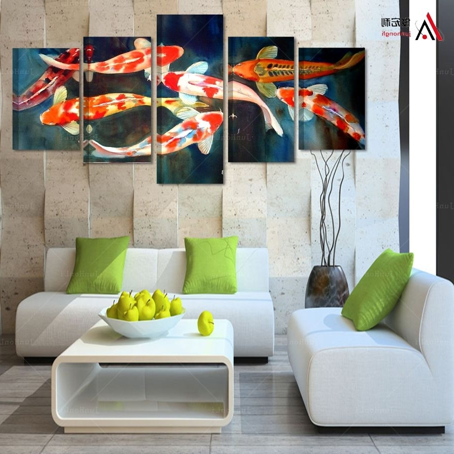 Fish Painting Wall Art With Popular 5 Panel Canvas Art Koi Fish Wall Art Chinese Painting Wall Art On (View 15 of 15)