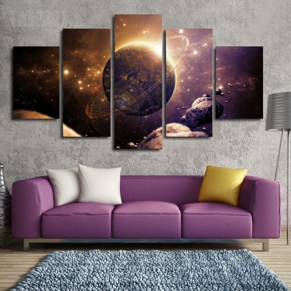 Five Piece Canvas Wall Art Inside Most Popular Planet Of The Universe Painting – 5 Piece Canvas (View 14 of 15)
