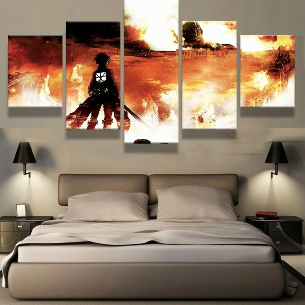 Five Piece Canvas Wall Art Pertaining To Trendy 5 Panel Canvas Printed Attack On Titan Painting Home Decor For (View 4 of 15)