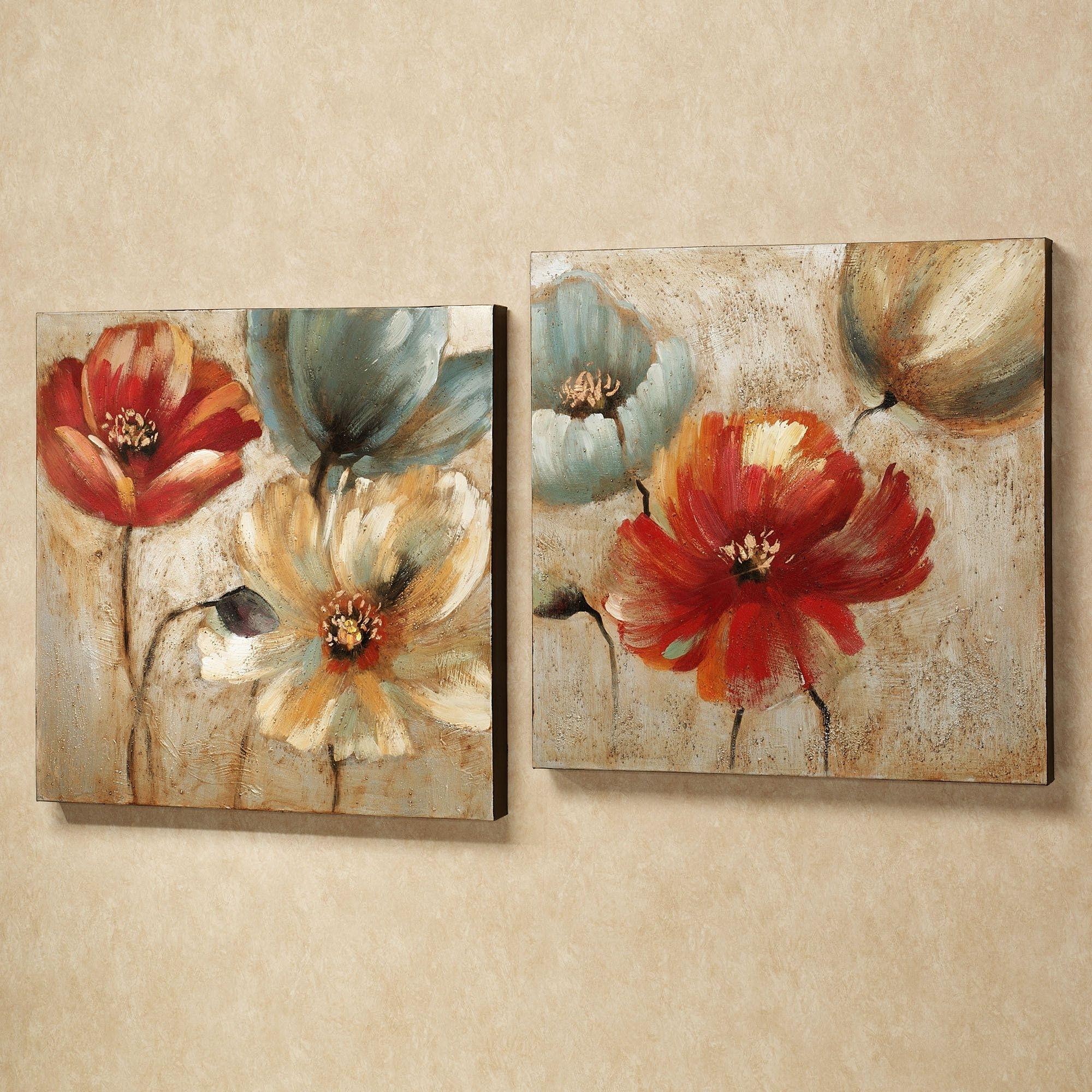 Floral Canvas Wall Art Inside Famous Joyful Garden Floral Canvas Wall Art Set (View 5 of 15)