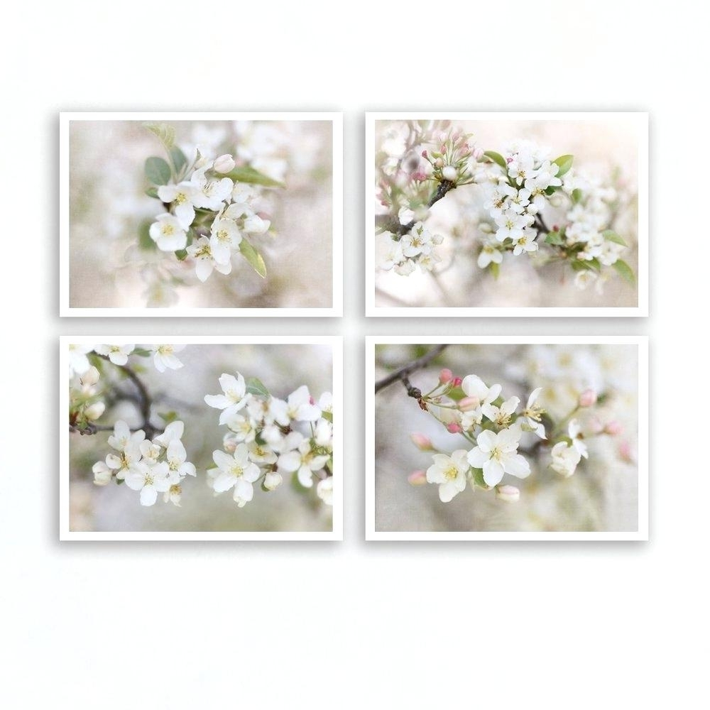 Floral Wall Art Throughout 2018 Floral Wall Art Set Of 4 Prints Floral Wall Art Large Framed Floral (View 14 of 15)