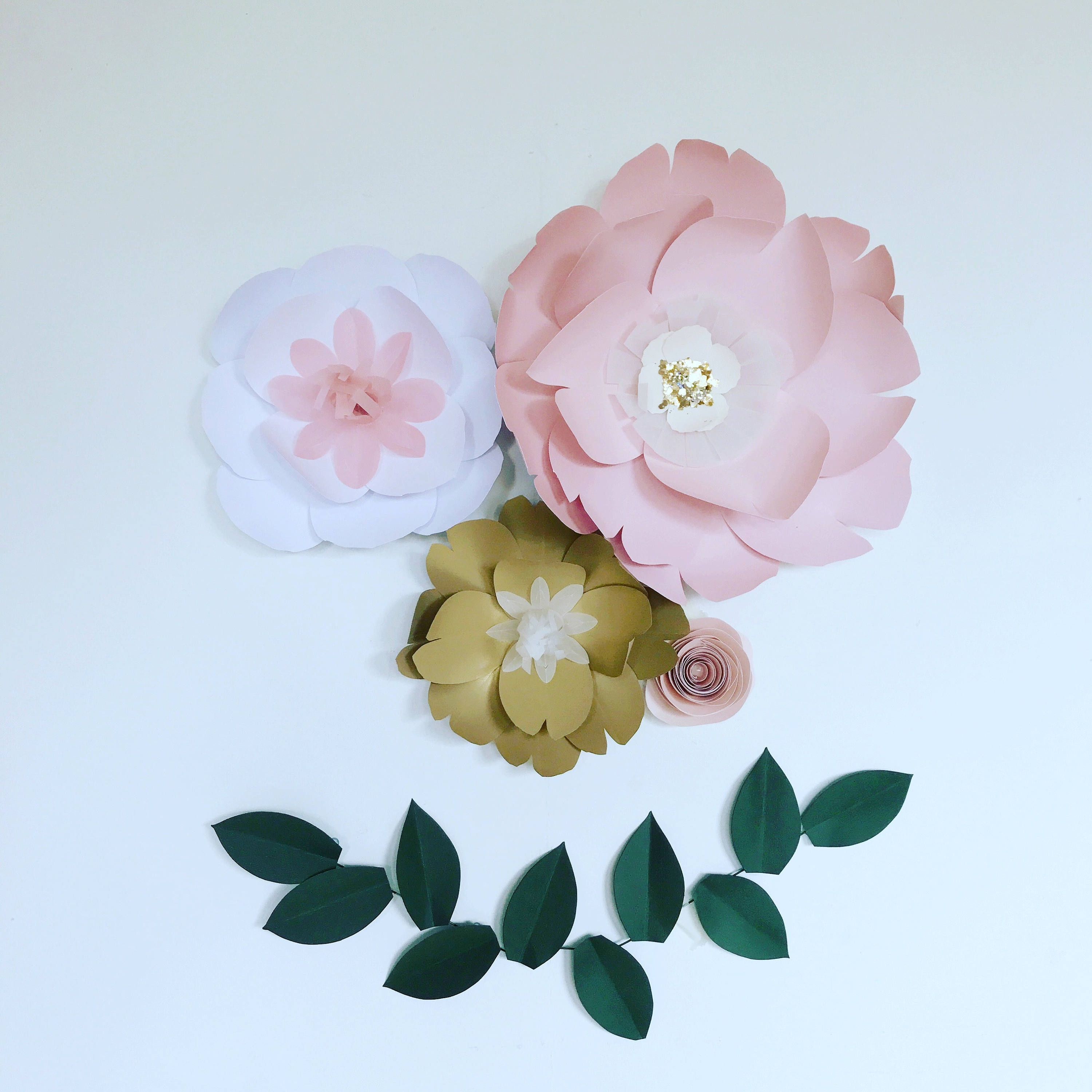 Floral Wall Art Within 2018 Large Paper Flowers Wall Decor, Floral Wall Art, Giant Pink / Gold (View 15 of 15)