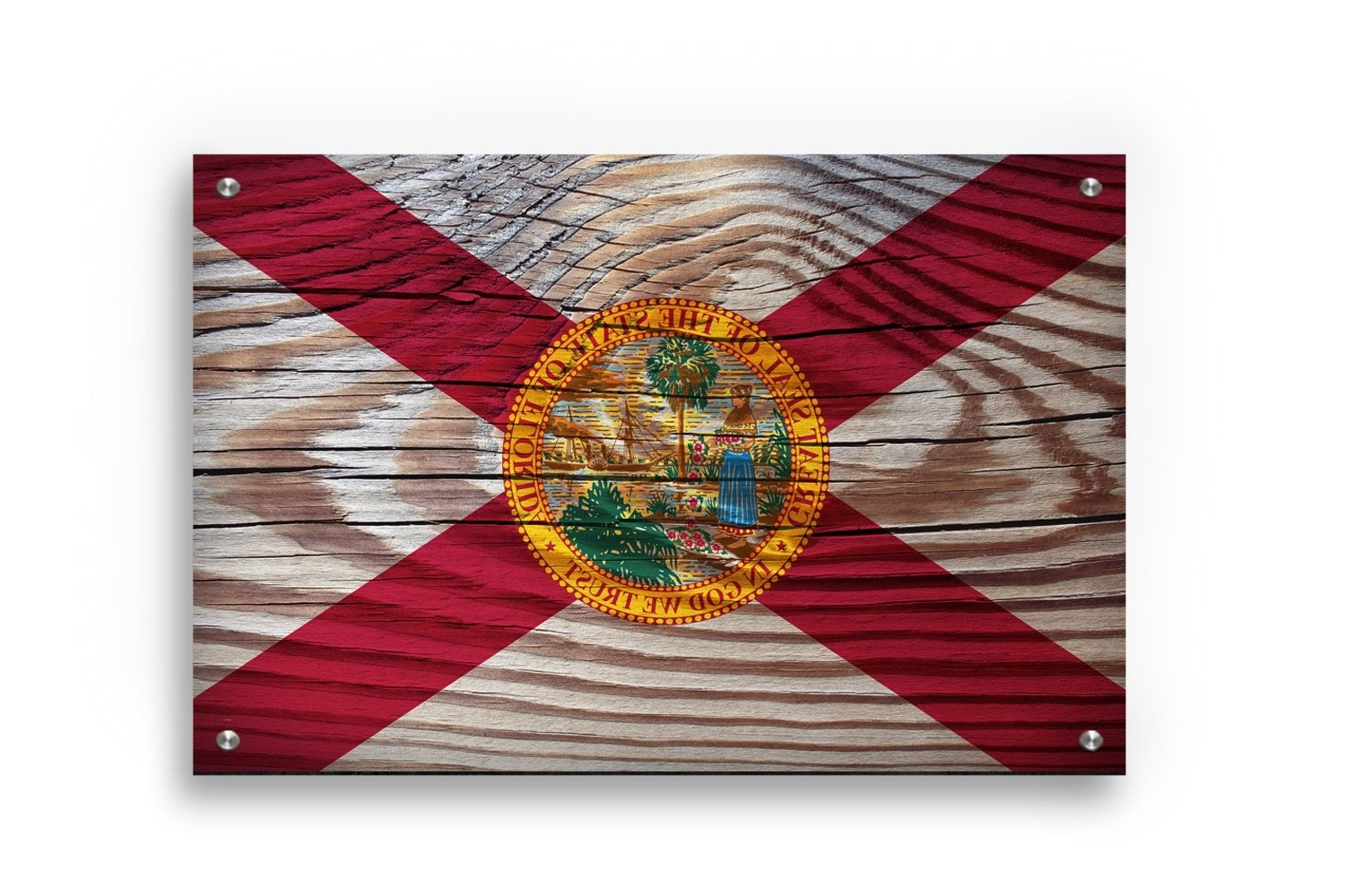 Florida State Flag Graffiti Wall Art Printed On Brushed Aluminum In Most Recent Florida Wall Art (View 8 of 15)