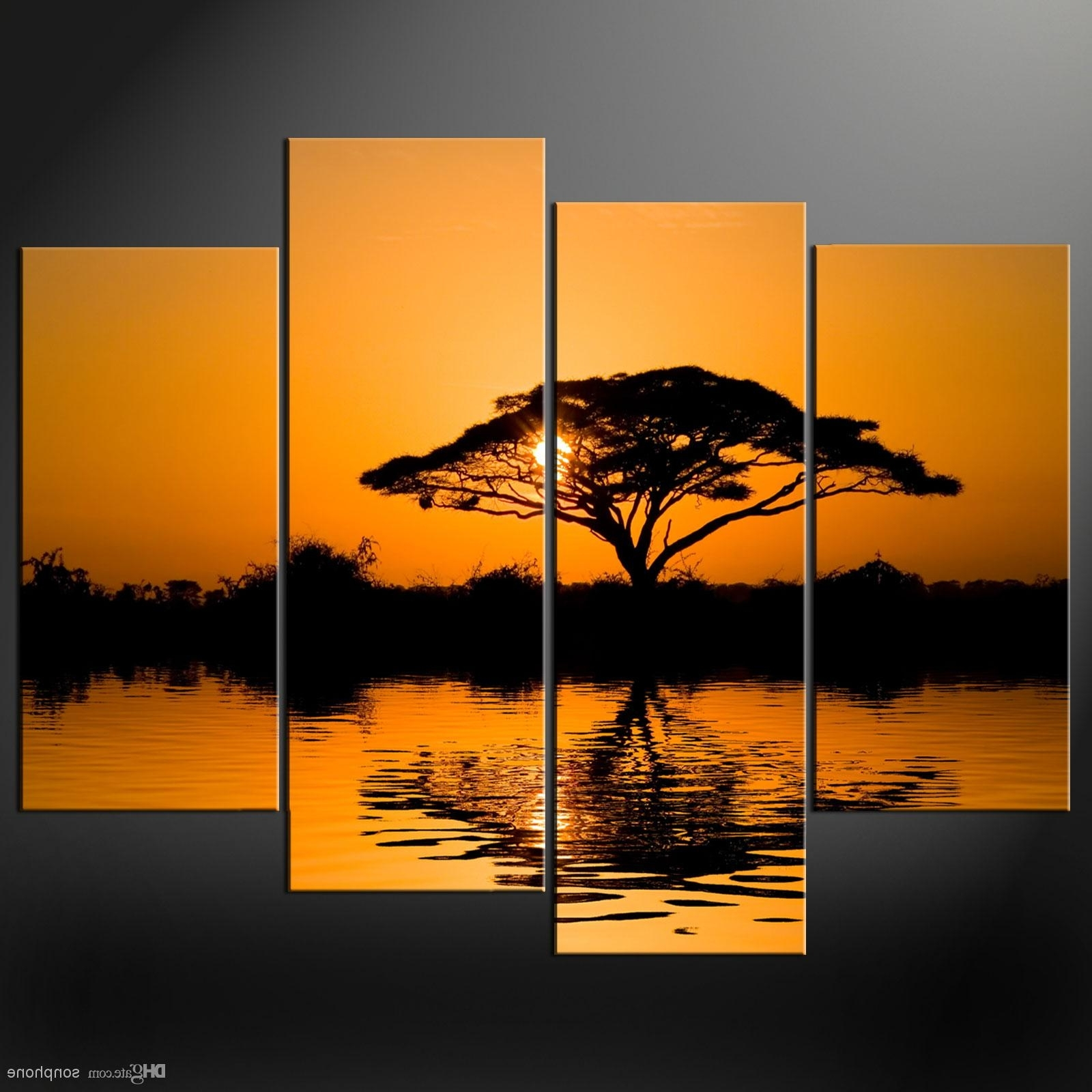 Framed 4 Panel Large African Wall Art Decor Modern Sunset Oil With Regard To Well Liked Cheap Framed Wall Art (View 9 of 15)
