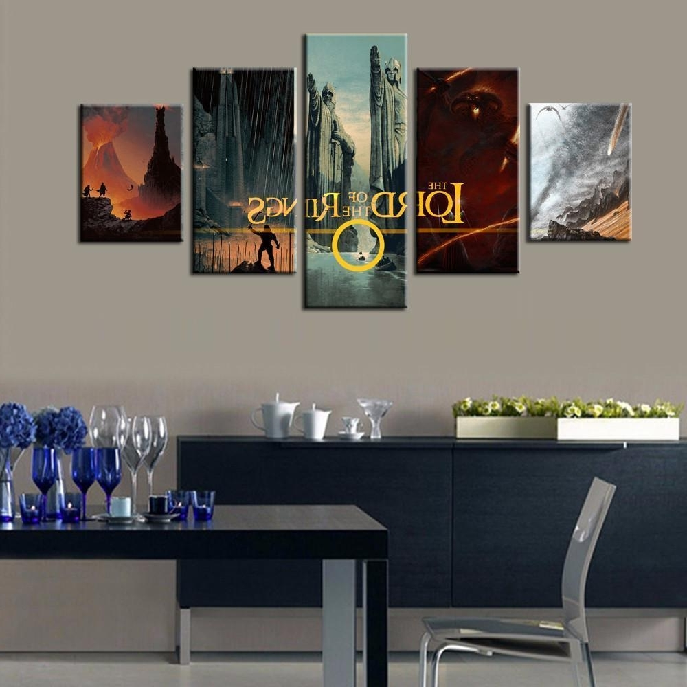 Framed 5 Piece Lord Of The Rings Montage Canvas Art Wall, Lord Of With Trendy Lord Of The Rings Wall Art (View 6 of 15)