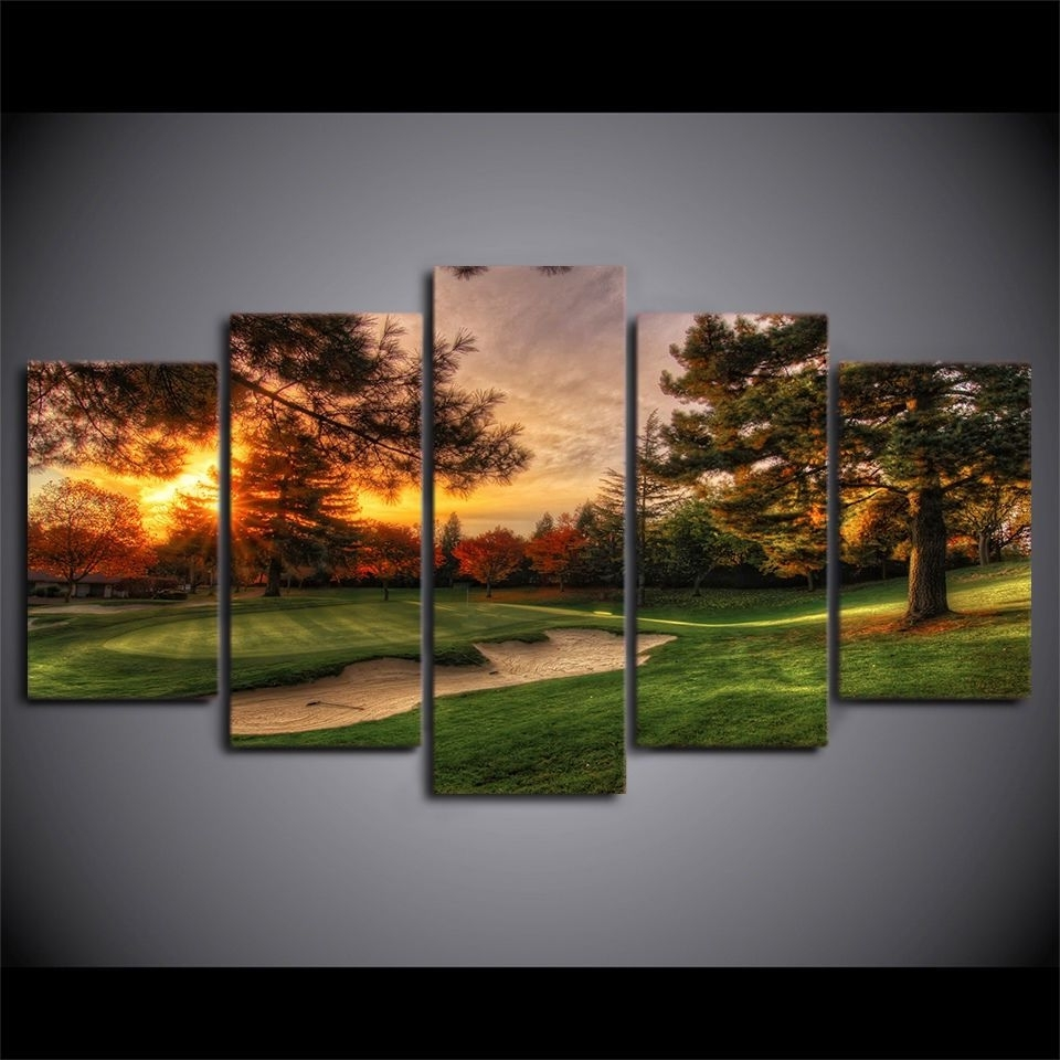 Framed Golf Course Sunset 5 Pcs Painting Printed Canvas Wall Art Regarding Well Known Golf Canvas Wall Art (View 7 of 15)