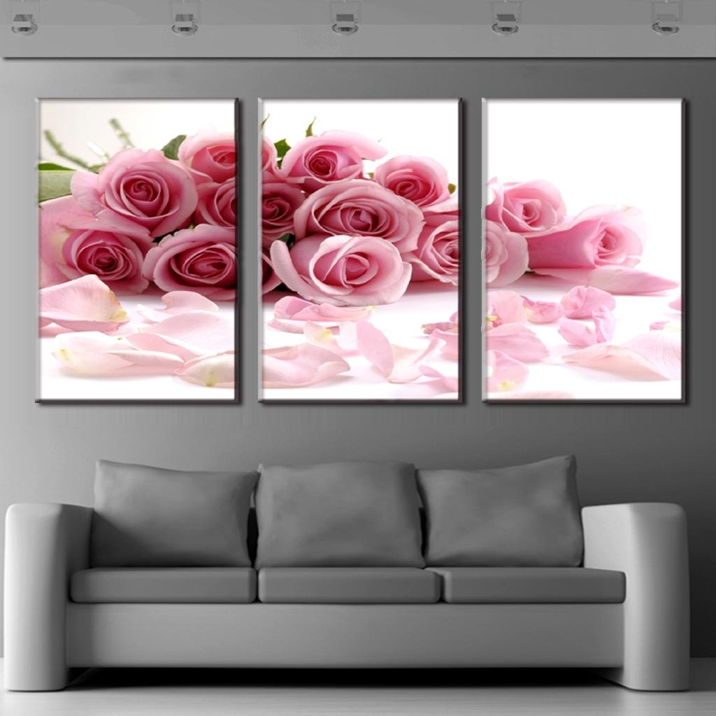 Framed Wall Pictures For Living Room New 3 Pcs Set Framed Flower In Well Known Modern Framed Wall Art Canvas (View 9 of 15)