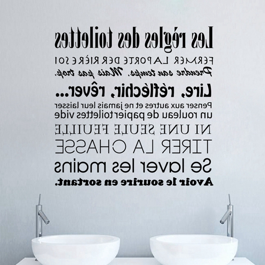 French Bathroom Rules Wall Stickers French Toilet Rules Vinyl Wall Pertaining To Well Known Bathroom Rules Wall Art (View 8 of 15)