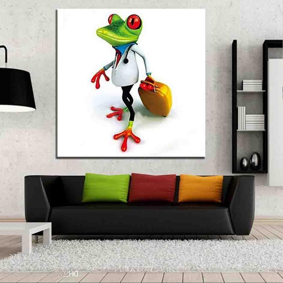 Gecko Canvas Wall Art Intended For Recent 2018 Unframed Handpainted Travel Frog Animal Oil Painting On Canvas (View 14 of 15)