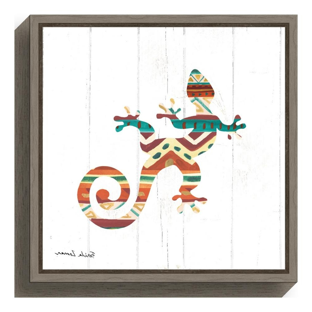 """Gecko Canvas Wall Art Pertaining To Well Known Amanti Art """"southwestern Vibes V Gecko""""farida Zaman Framed (View 10 of 15)"""