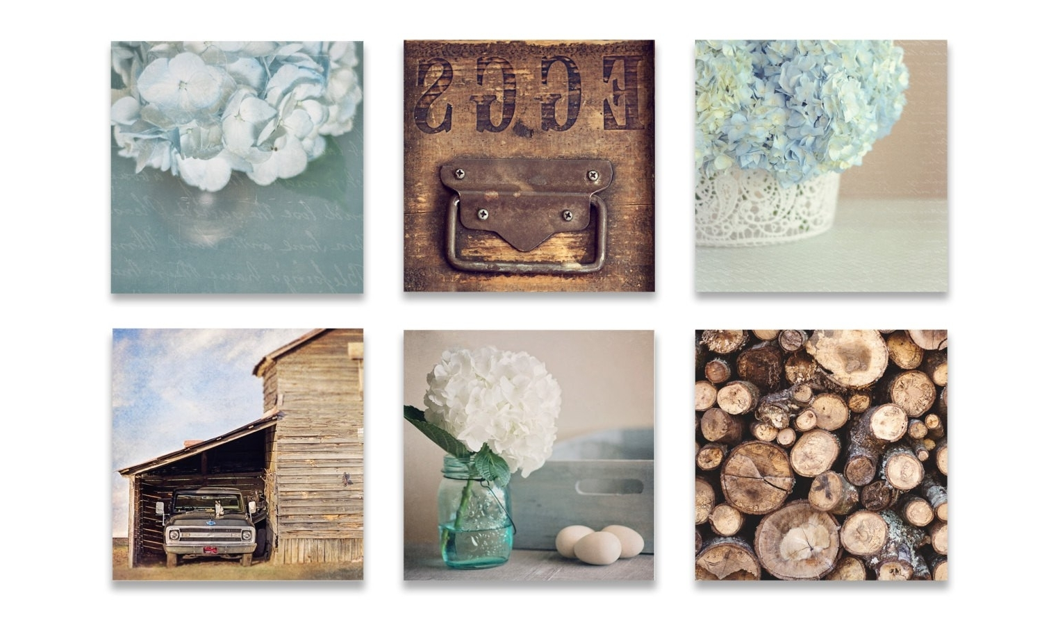 Genuine Farmhouse Wall Decor Rustic Wall Art Set Six Prints Blue Inside Well Known Rustic Wall Art (View 12 of 15)