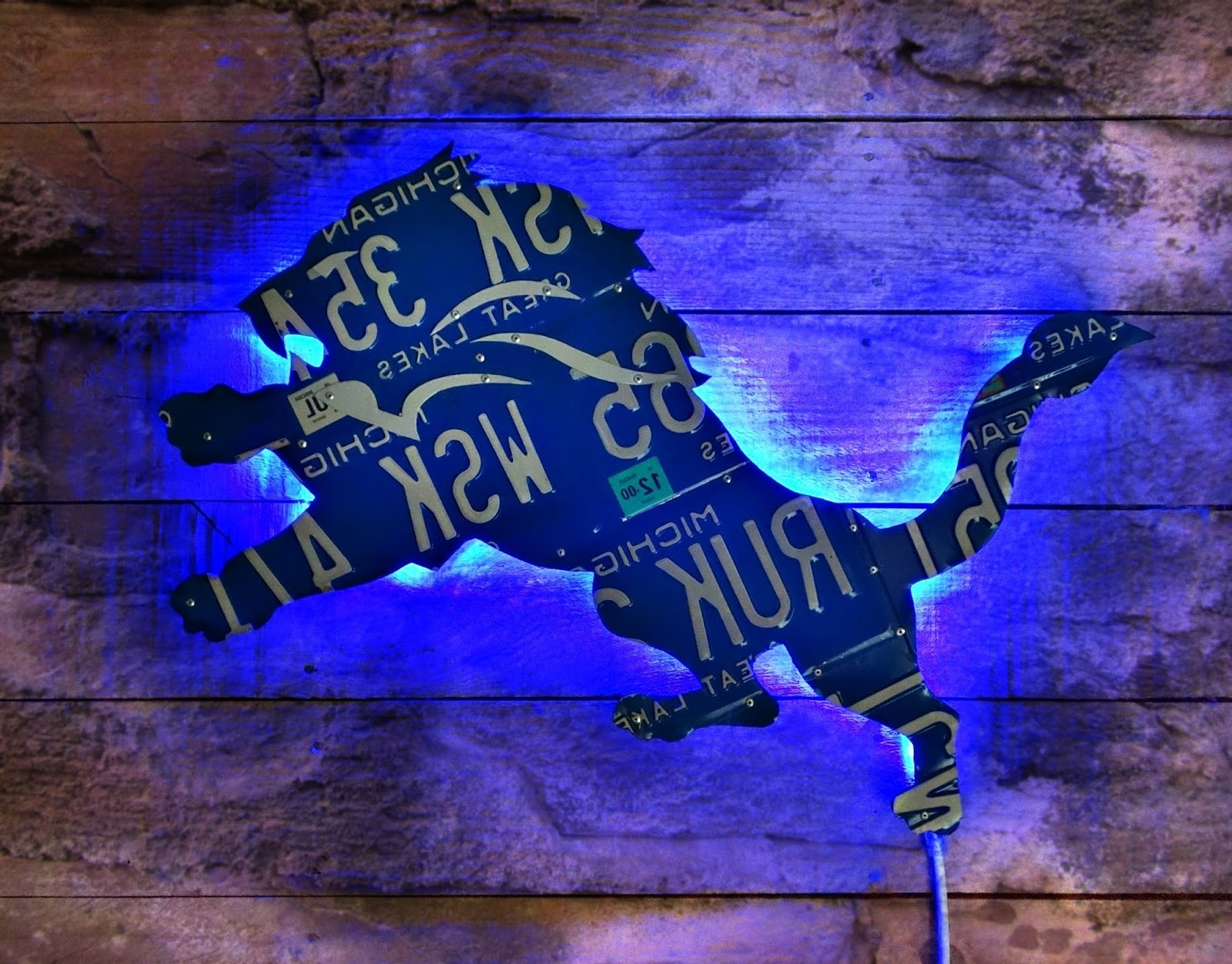 Giant Detroit Lions Great Lakes Michigan License Plate Logo Wall Art intended for Famous Michigan Wall Art