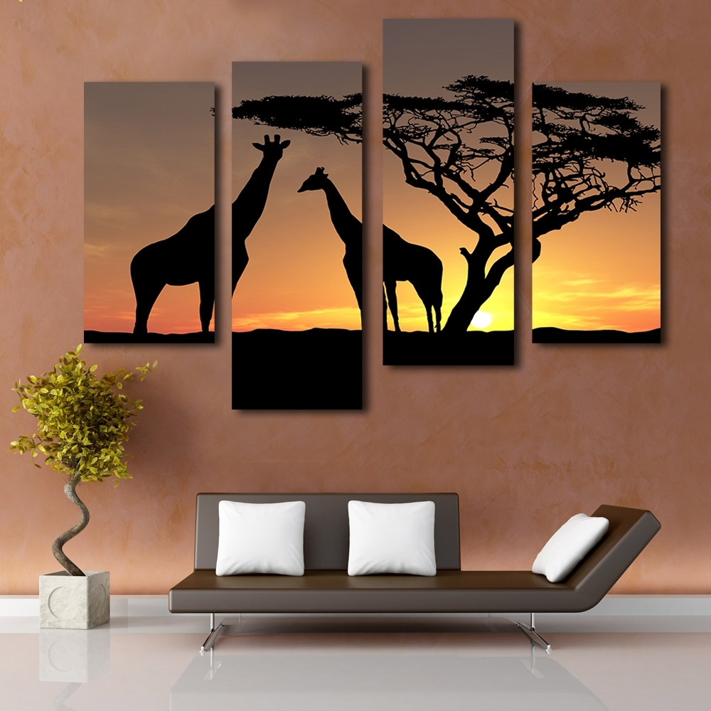 Giraffe Canvas Wall Art For Latest Beautiful Scenery Sunset Giraffe Picture Printing On Canvas (View 5 of 15)