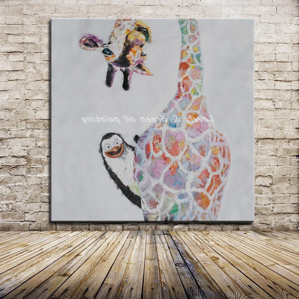 Giraffe Canvas Wall Art Within Most Current No Framed Handpainted Large Modern Cartoon Colorful Naughty Animal (View 6 of 15)