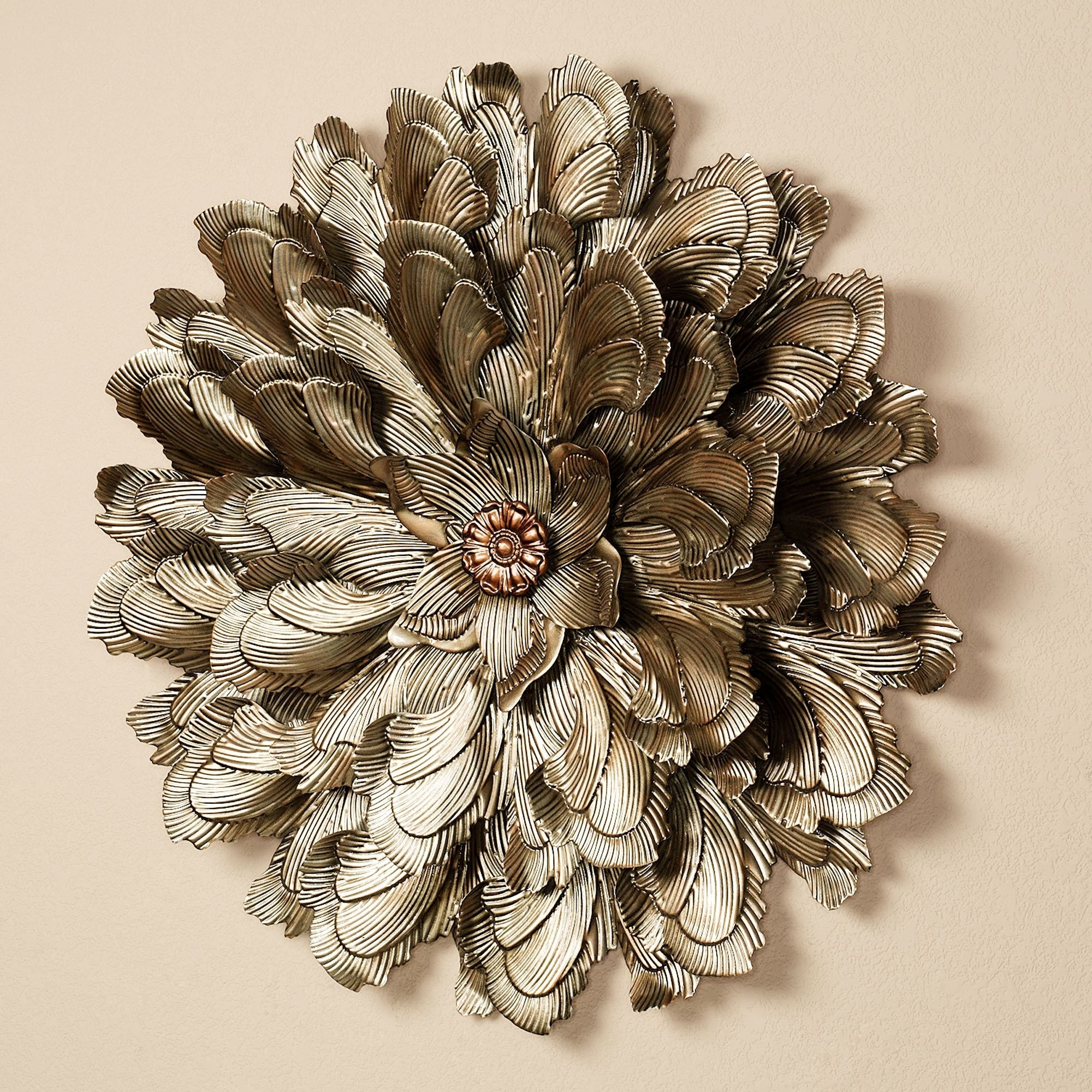 Gold Metal Wall Art For 2018 Delicate Flower Blossom Metal Wall Sculpture (View 7 of 15)