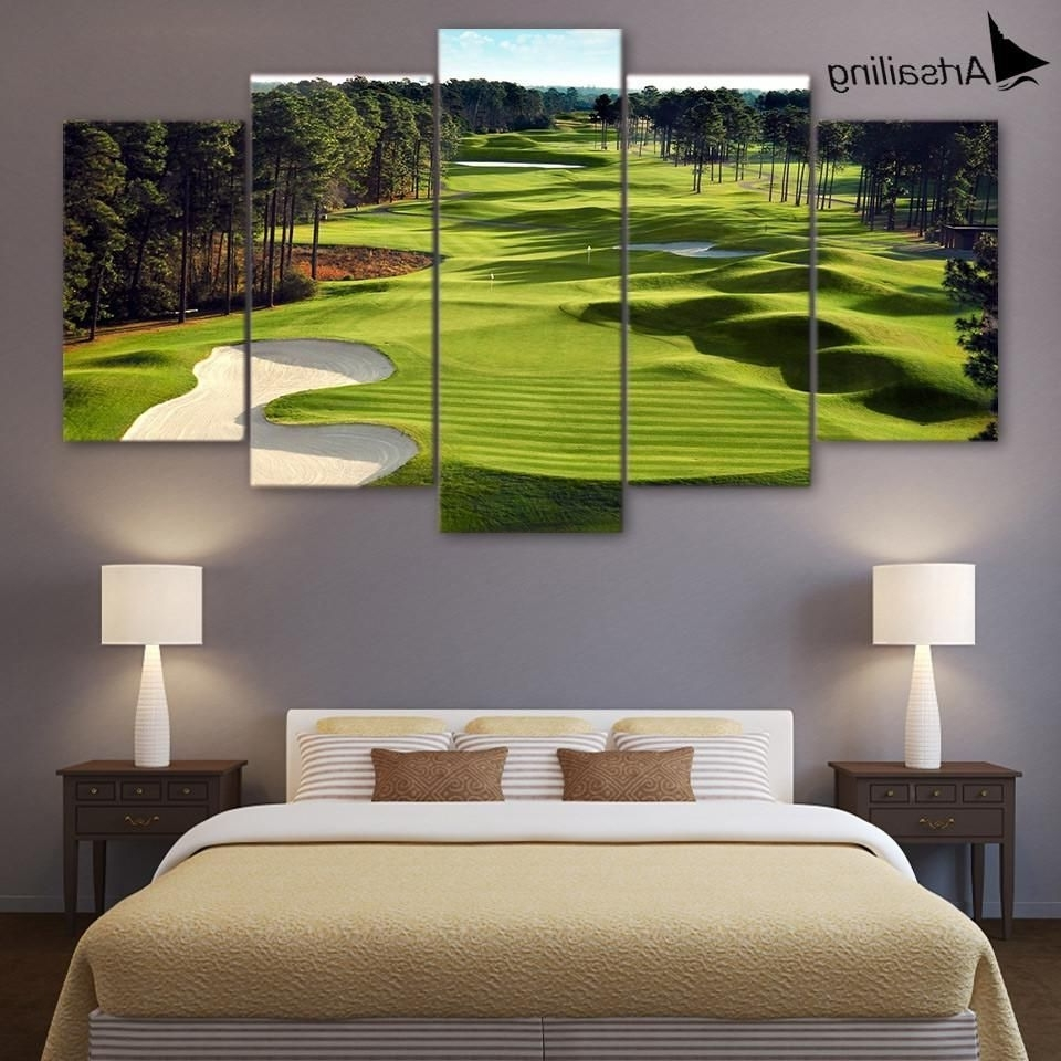 Golf Canvas Wall Art regarding Recent Just Launched! 5 Pieces Golf Course Wall Art Canvas Pictures For