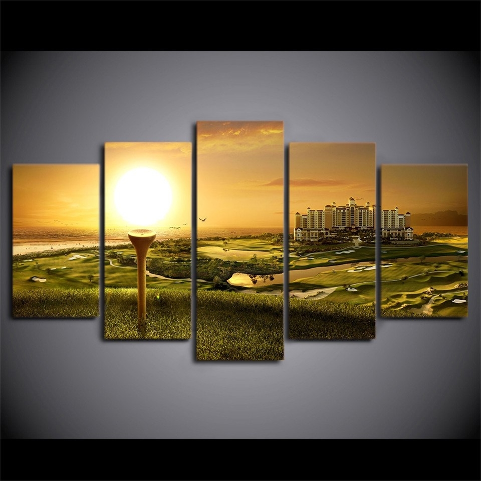 Golf Canvas Wall Art with regard to Favorite Canvas Paintings Printed 5 Pieces Golf Course Wall Art Canvas