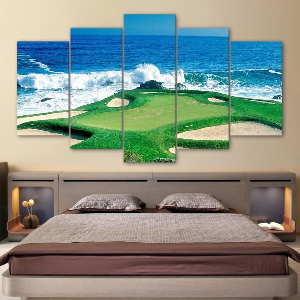 Golf Canvas Wall Art Within Popular 5 Panel Golfing Golf Course Green Wall Art Panel Print On Canvas (View 6 of 15)