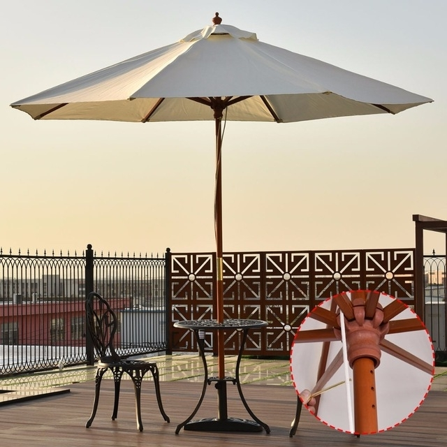 Goplus Adjustable 9Ft Wooden Patio Umbrella Wood Pole Outdoor Garden Intended For Favorite 9 Ft Patio Umbrellas (View 13 of 15)