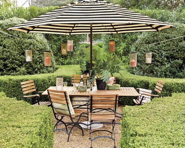 Gorgeous Design For Striped Patio Umbrella Ideas Backyard Dining Pertaining To Latest Black And White Striped Patio Umbrellas (Gallery 6 of 15)