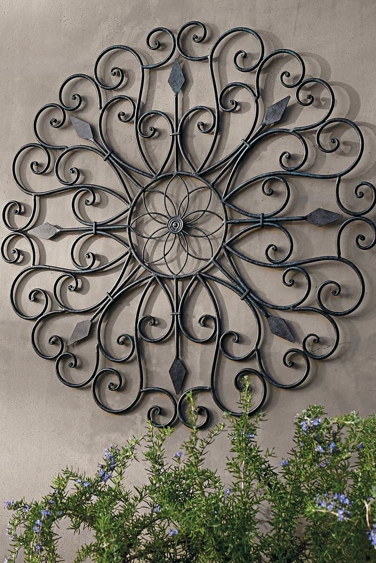 Graceful Outdoor Wall Decor 2 Art Iron Design Of Outside Metal 1 Intended For Popular Metal Outdoor Wall Art (View 6 of 15)