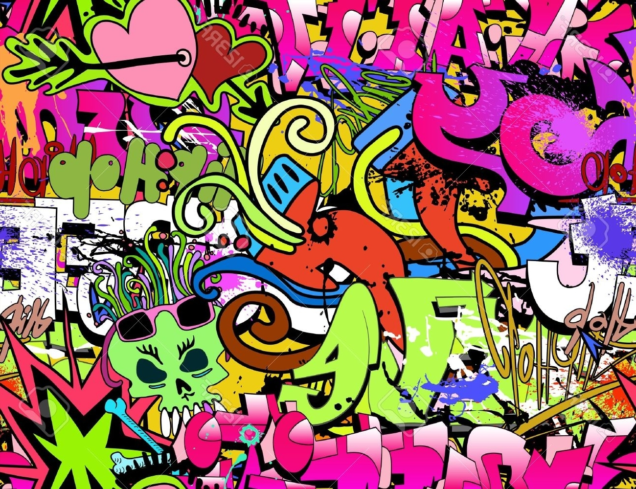 Graffiti Wall Art Background Hip-Hop Style Seamless Texture with Well known Hip Hop Wall Art