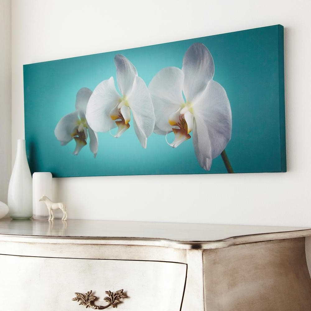 "Graham & Brown 39 In. X 16 In. ""teal Orchid""graham And Brown Pertaining To Well Known Teal And Brown Wall Art (Gallery 11 of 15)"