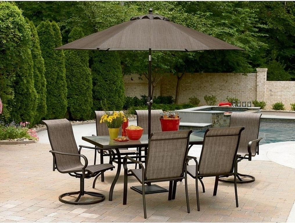 Gray Aluminum Patio Table With Umbrella Hole — Life On The Move Inside Trendy Patio Tables With Umbrella Hole (Gallery 6 of 15)