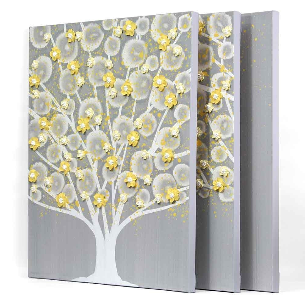 Gray And Yellow Wall Art Tree On Canvas Triptych - Large