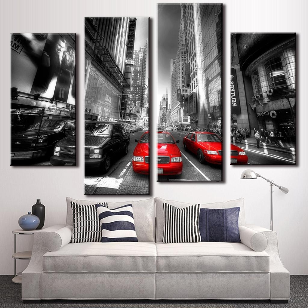 Gray Canvas Wall Art Throughout Preferred 4 Pcs/set New Arrival Modern Wall Painting Canvas Wall Art Picture (View 7 of 15)