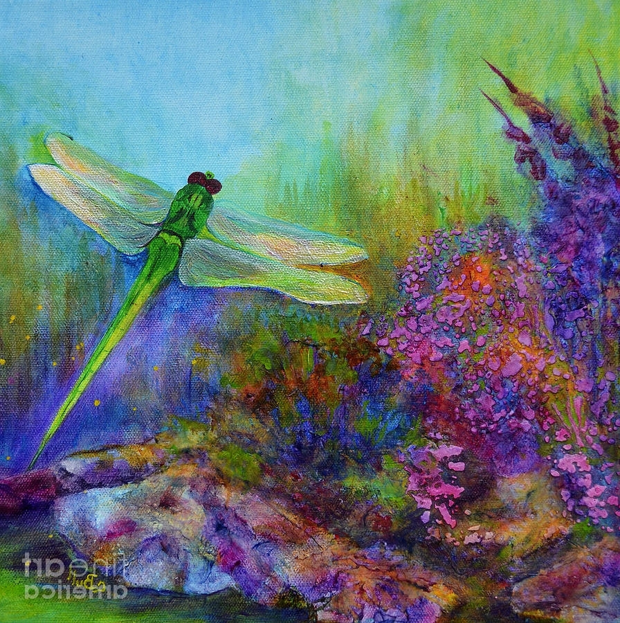Green Dragonfly Paintingclaire Bull For Most Popular Dragonfly Painting Wall Art (Gallery 11 of 15)