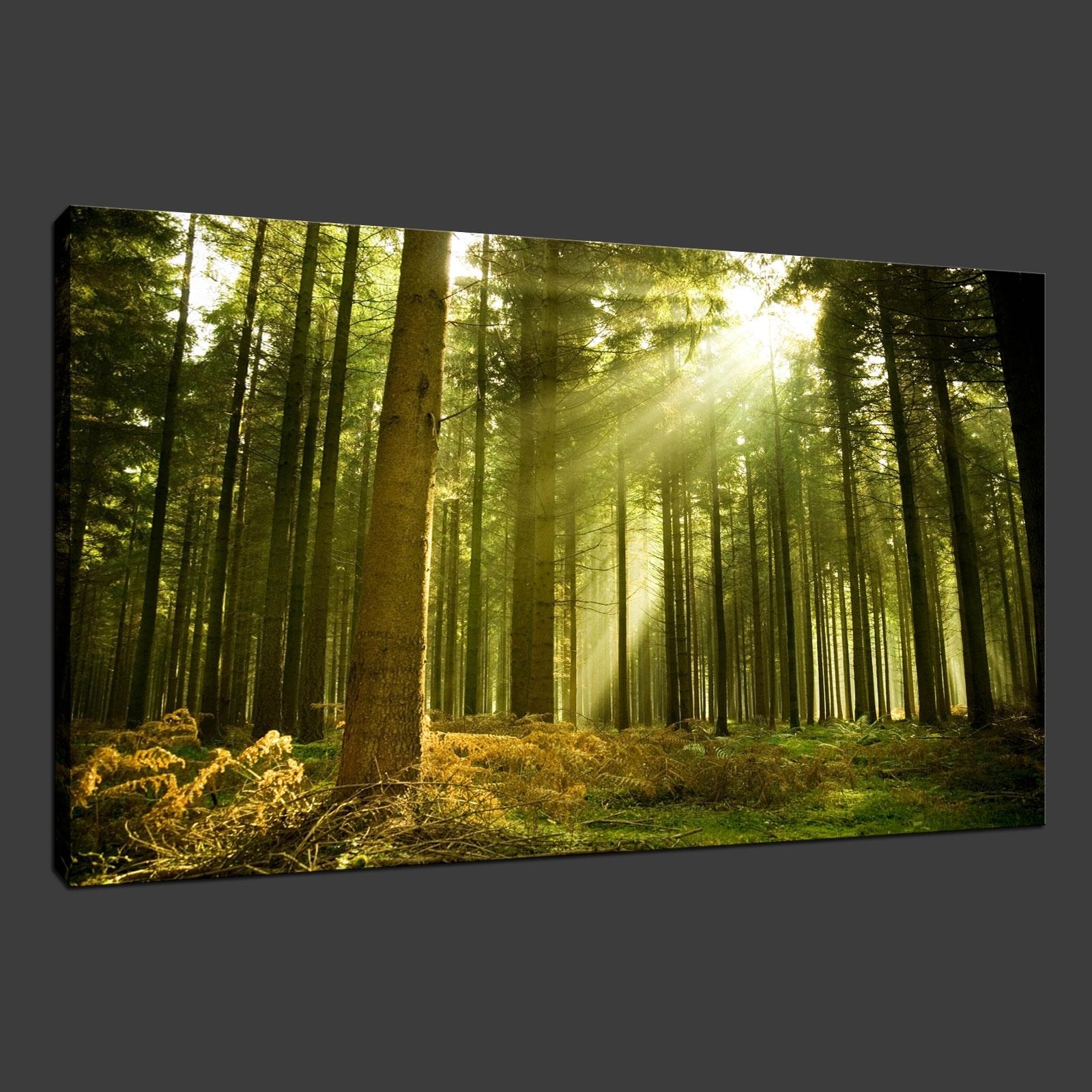Green Forest Rays Premium Canvas Print Wall Art Modern Design Free regarding Well known Green Wall Art