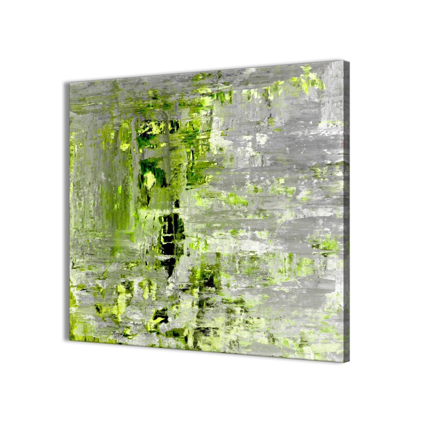 Green Wall Art Intended For Best And Newest Lime Green Grey Abstract Painting Wall Art Print Canvas – Modern (Gallery 1 of 15)