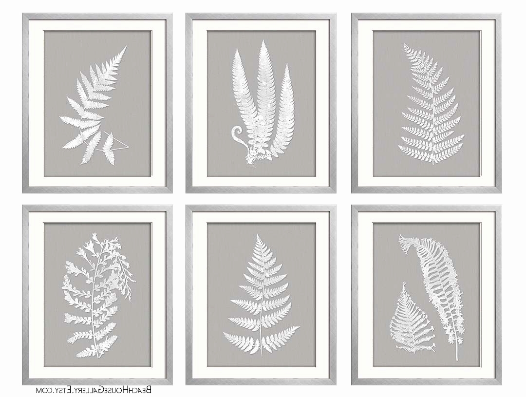 Grey And White Wall Art pertaining to Well-known Ferns Garden Botanical Prints Best Of Gray White Wall Art Fern