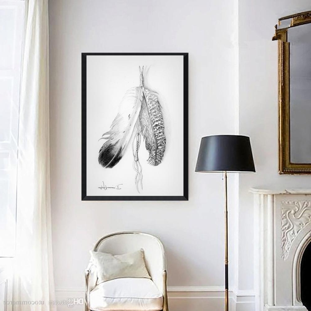 Grey And White Wall Art With Regard To Trendy 2018 Nordic Painting Grey Feathers Picture Canvas Painting Home Wall (Gallery 2 of 15)