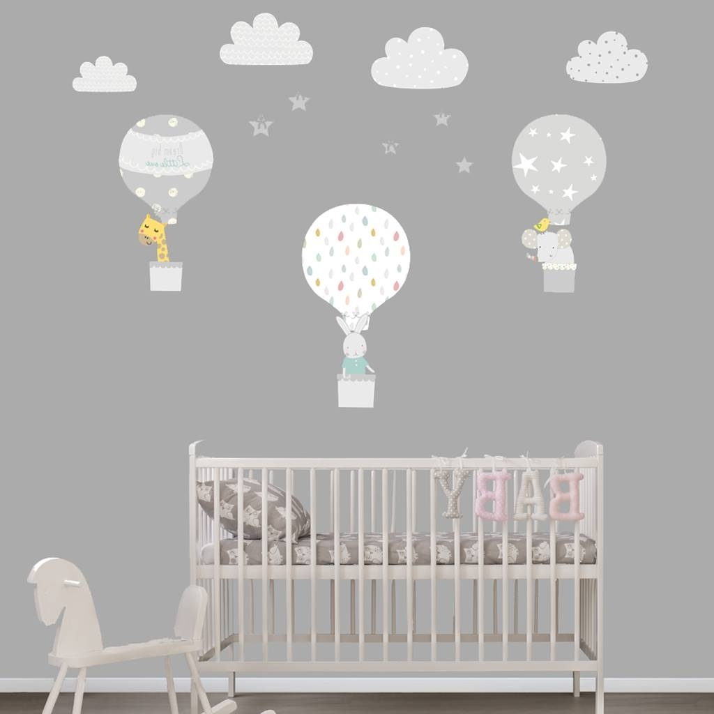 Grey Hot Air Balloon Fabric Wall Stickerslittleprints Within Trendy Nursery Wall Art (View 6 of 15)