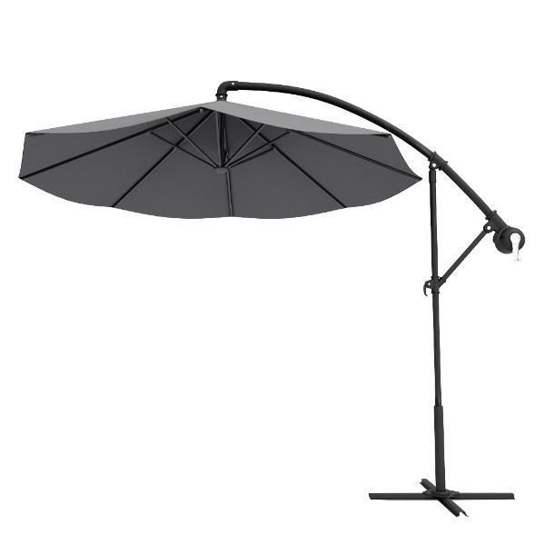 Grey Round Outdoor Patio Offset Cantilever Umbrellas with regard to Widely used Grey Patio Umbrellas