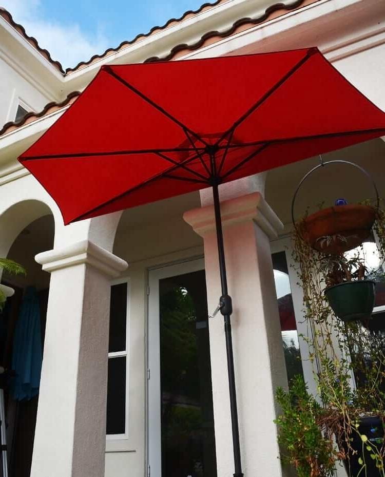 Half Patio Umbrellas Regarding Preferred Patio Umbrella – Red Half 9'quality Patio Umbrellas, Market, Solar (Gallery 11 of 15)