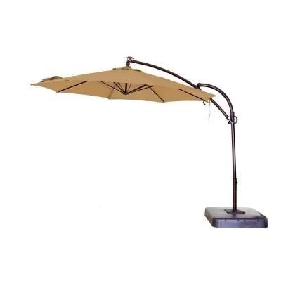 Hampton Bay Offset Patio Umbrellas Regarding Recent Hampton Bay 11 Ft. Solar Powered Patio Umbrella In Tan Uxs01601C (Gallery 14 of 15)