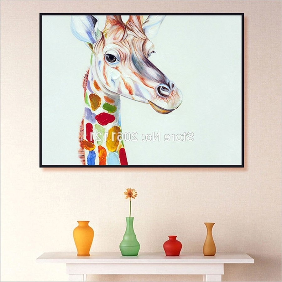 Hand Painted Home Decor Wall Art Picture Cute Kid Animal Oil Inside Most Recent Giraffe Canvas Wall Art (View 7 of 15)