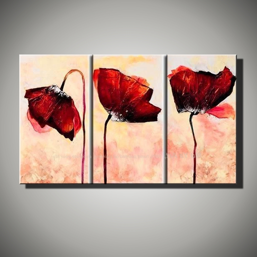 Hand Painted Modern Wall Decor Painting 3 Piece Canvas Wall Art Regarding Widely Used Modern Painting Canvas Wall Art (View 7 of 15)