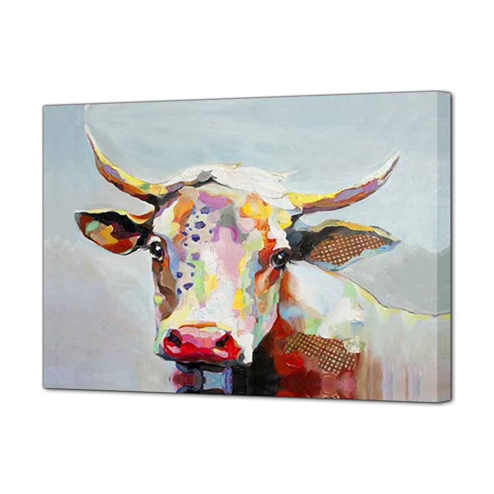 Hand Painted Oil Painting Cow Large Canvas Wall Art Cute Animal within Current Cow Canvas Wall Art